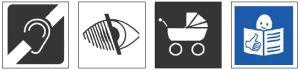 Abbildung verschiedener Symbole für Behinderungen und Beeinträchtigungen