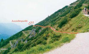Abbildung des Berghanges mit markiertem Aussichtspunkt auf halber Höhe