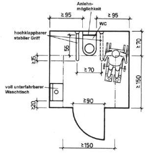 Grundriss einer behindertengerechten Toilette