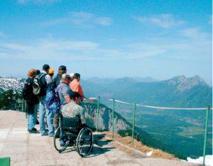 Eine Gruppe Menschen, zum Teil mit Rollstuhl, auf einem Aussichtspunkt