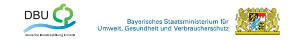 Logos der Deutschen Bundesstiftung Umwelt und des Bayrischen Staatsministeriums f�r Umwelt, Gesundheit und Verbraucherschutz